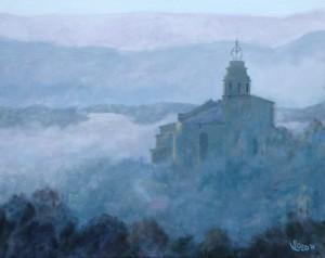 Kerk in de mist in Lubéron - Hans van der Vloed