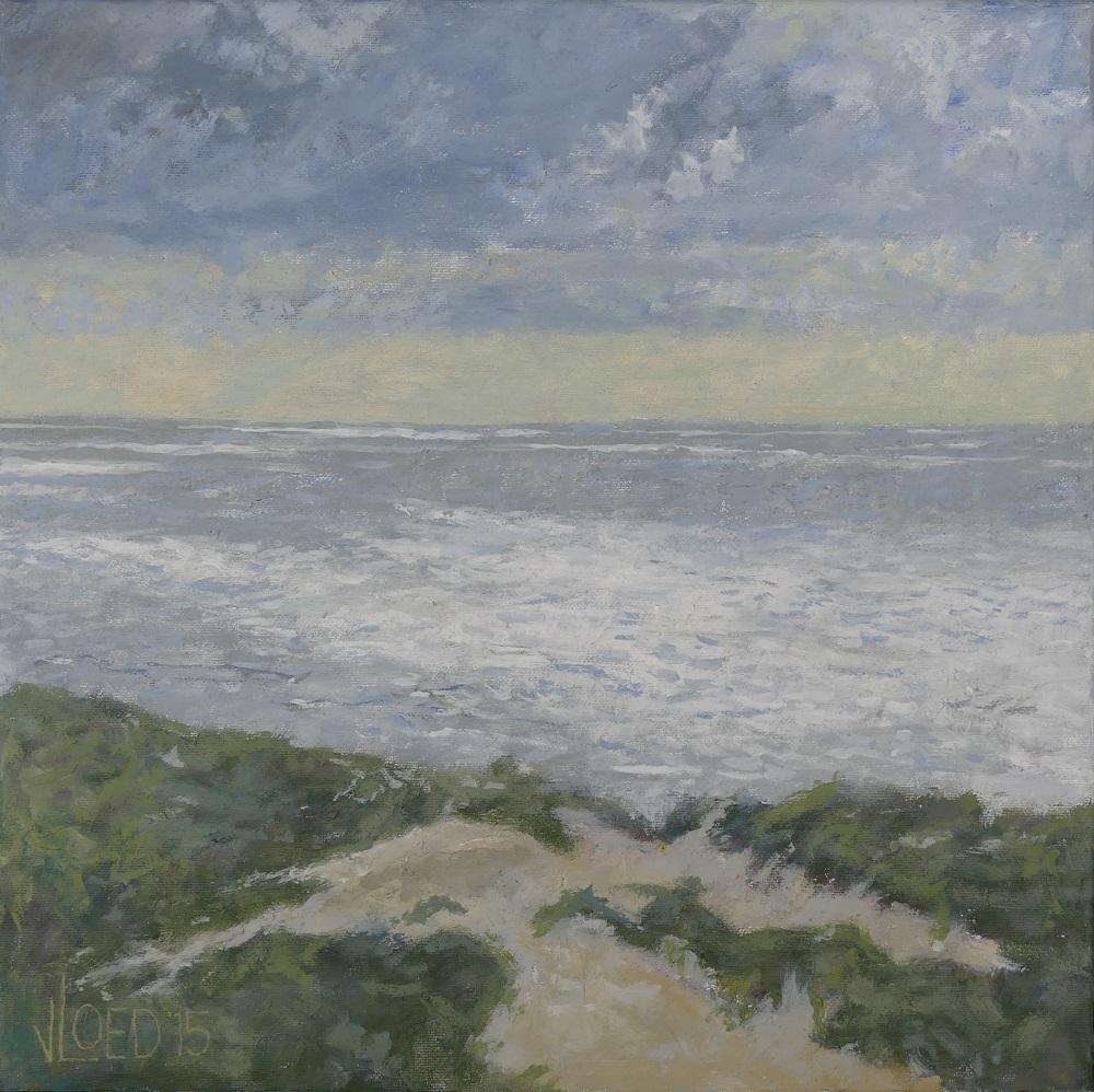 Hans van der vloed zeezicht vanaf de duinen for Schilderij zeezicht