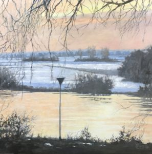 Zonsondergang aan de IJssel - Hans van der Vloed